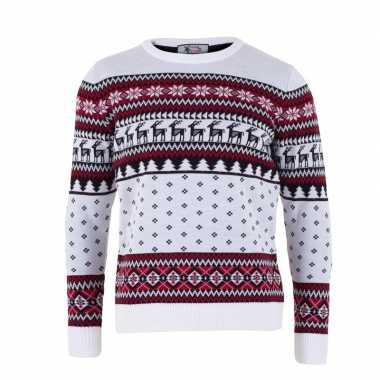 Witte kersttrui voor volwassenen nordic print kopen