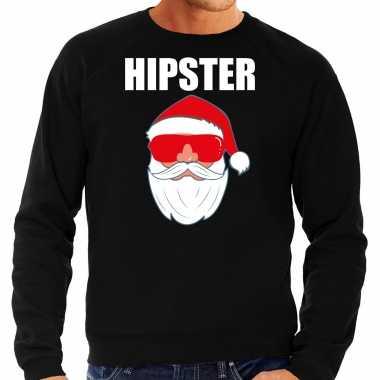 Zwarte kersttrui / kerstkleding hipster voor heren met kerstman met zonnebril kopen