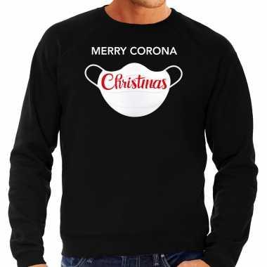 Zwarte kersttrui / kerstkleding merry corona christmas voor heren grote maten kopen