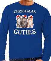 Blauwe kersttrui kerstkleding christmas cuties voor heren