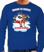 Blauwe kersttrui kerstkleding drank en drugs voor heren