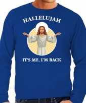 Blauwe kersttrui kerstkleding hallelujah its me im back voor heren