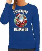 Blauwe kersttrui kerstkleding northpole roulette voor dames