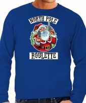 Blauwe kersttrui kerstkleding northpole roulette voor heren grote maten