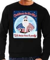 Foute amerika kerstborrel trui kersttrui christmas in usa zwart voor heren