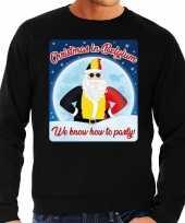 Foute belgie kerstborrel trui kersttrui christmas in belgium zwart voor heren