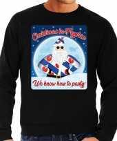 Foute friesland kerstborrel trui kersttrui christmas in fryslan zwart voor heren