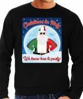 Foute italie kerstborrel trui kersttrui christmas in italy zwart voor heren