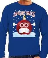 Foute kerstborrel sweater kersttrui angry balls blauw voor heren