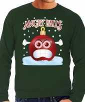 Foute kerstborrel sweater kersttrui angry balls groen voor heren