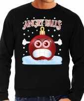 Foute kerstborrel sweater kersttrui angry balls zwart voor heren