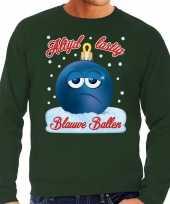 Foute kerstborrel sweater kersttrui blauwe ballen blue balls groen voor heren