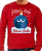 Foute kerstborrel sweater kersttrui blauwe ballen blue balls rood voor heren