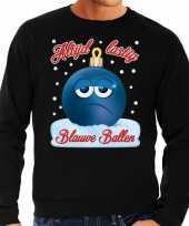 Foute kerstborrel sweater kersttrui blauwe ballen blue balls zwart voor heren