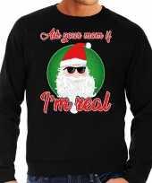 Foute kerstborrel trui kersttrui ask your mom zwart voor heren