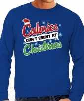 Foute kerstborrel trui kersttrui calories don t count at christmas blauw voor heren