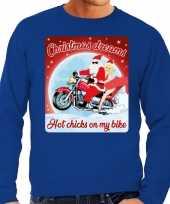 Foute kerstborrel trui kersttrui christmas dreams blauw voor motorrijders voor heren