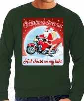Foute kerstborrel trui kersttrui christmas dreams groen voor motorrijders voor heren