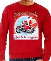 Foute kerstborrel trui kersttrui christmas dreams rood voor motorrijders voor heren