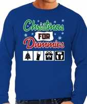 Foute kerstborrel trui kersttrui christmas for dummies blauw voor heren