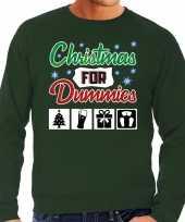 Foute kerstborrel trui kersttrui christmas for dummies groen voor heren