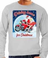 Foute kerstborrel trui kersttrui driving home for christmas grijs voor motorrijders voor heren