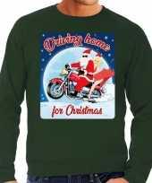 Foute kerstborrel trui kersttrui driving home for christmas groen voor motorrijders voor heren