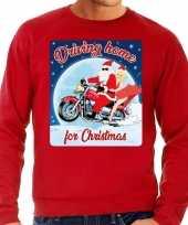 Foute kerstborrel trui kersttrui driving home for christmas rood voor motorrijders voor heren