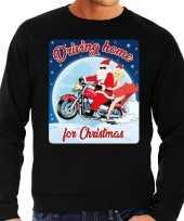 Foute kerstborrel trui kersttrui driving home for christmas zwart voor motorrijders voor heren