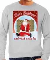 Foute kerstborrel trui kersttrui fuck christmas and fuck santa too grijs voor heren