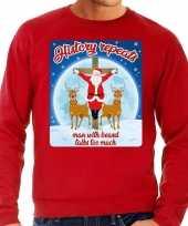 Foute kerstborrel trui kersttrui history repeats rood voor heren