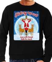 Foute kerstborrel trui kersttrui history repeats zwart voor heren