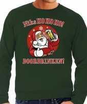 Foute kerstborrel trui kersttrui ho ho ho doordrinken met biertje groen voor heren