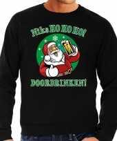 Foute kerstborrel trui kersttrui ho ho ho doordrinken met biertje zwart voor heren