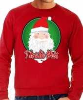 Foute kerstborrel trui kersttrui i hate this rood voor heren
