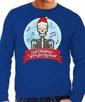 Foute kerstborrel trui kersttrui last christmas i gave you my heart skelet blauw voor heren