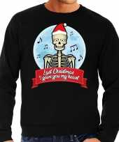 Foute kerstborrel trui kersttrui last christmas i gave you my heart skelet zwart voor heren