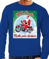 Foute kerstborrel trui kersttrui mc santa voor motorrijders blauw voor heren
