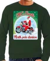 Foute kerstborrel trui kersttrui mc santa voor motorrijders groen voor heren
