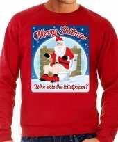 Foute kerstborrel trui kersttrui merry shitmas rood voor heren