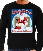 Foute kerstborrel trui kersttrui merry shitmas zwart voor heren 10172409