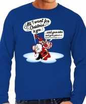 Foute kerstborrel trui kersttrui met zingende kerstman en gitaar all i want for christmas is you blauw voor heren