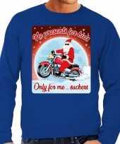 Foute kerstborrel trui kersttrui no presents for kids blauw voor motorrijders voor heren