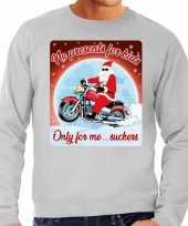 Foute kerstborrel trui kersttrui no presents for kids grijs voor motorrijders voor heren