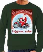 Foute kerstborrel trui kersttrui no presents for kids groen voor motorrijders voor heren