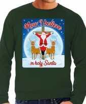Foute kerstborrel trui kersttrui now i believe in holy santa groen voor heren
