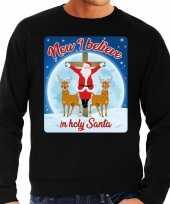 Foute kerstborrel trui kersttrui now i believe in holy santa zwart voor heren