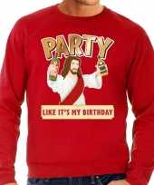 Foute kerstborrel trui kersttrui party jezus rood voor heren