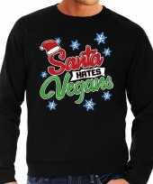 Foute kerstborrel trui kersttrui santa hates vegans zwart voor heren