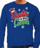 Foute kerstborrel trui kersttrui santa i have been good blauw voor heren